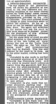 1907 article notes complaints about pollution in Little Sugar Creek. Image: Charlotte Observer archives