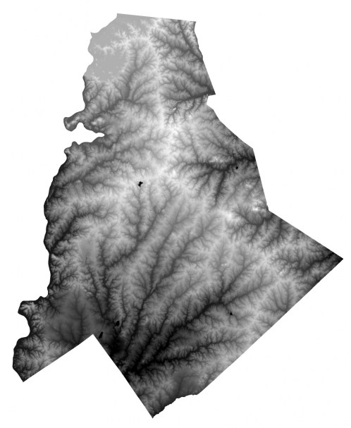 (Click for zoomable image.) This topographical map is exaggerated to show how the ridges (shown in white) and creek valleys shaped the county. Map: Garrett Nelson