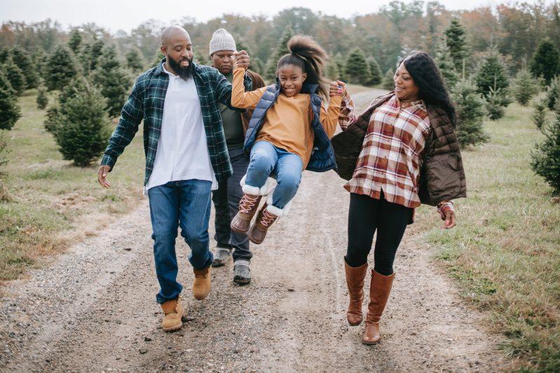 family having fun on a countryside walk