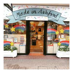 The front of a brightly coloured shop called Made in Ashford