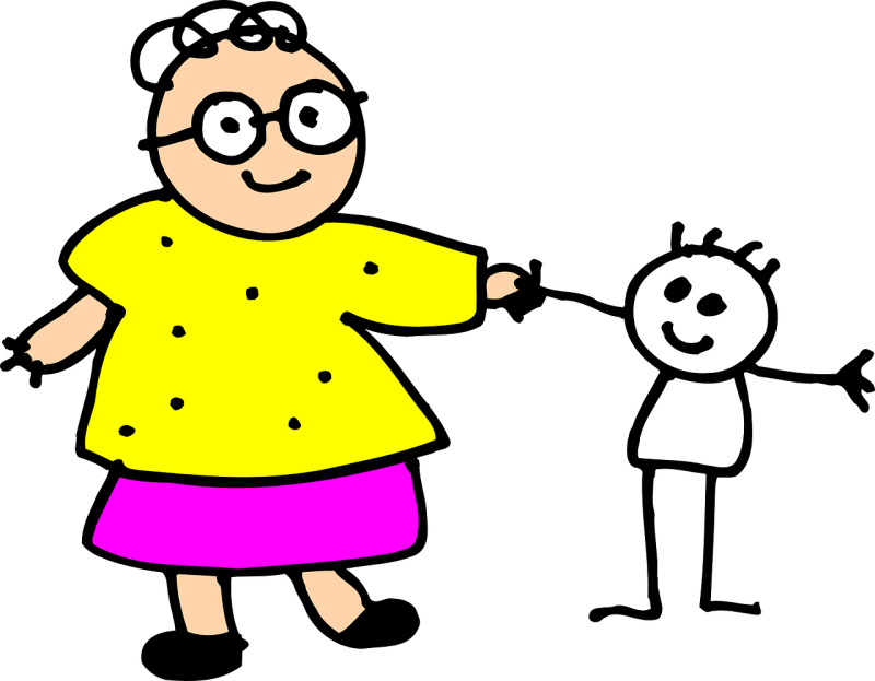 stick drawing of grandmother with grandchild