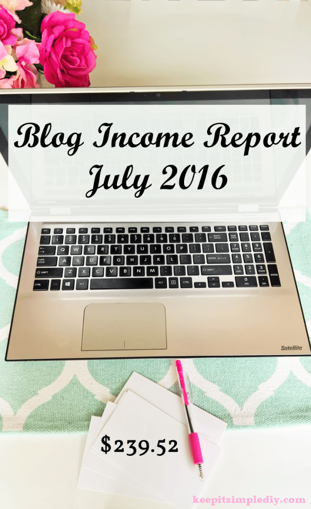 July 2016 Blog Income Report