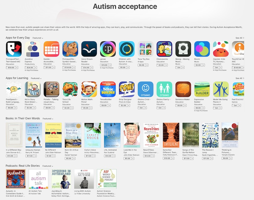 Apple has added an autism acceptance page to their app store.