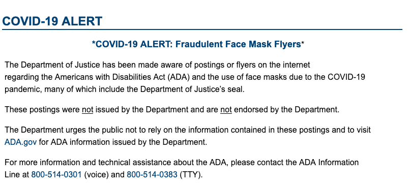Flyers about the Americans with Disabilities Act (ADA) and the use of face masks due to the COVID-19 are fake.