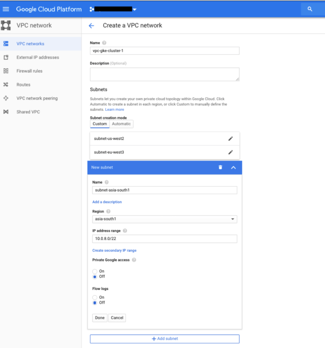 Creando VPC Global en Google Cloud