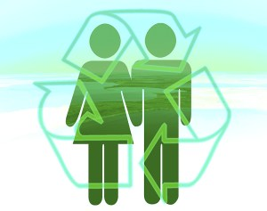Recycling symbol with two people