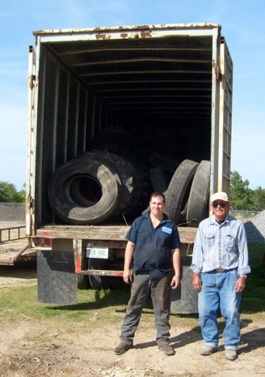 Tires being collected to recycle