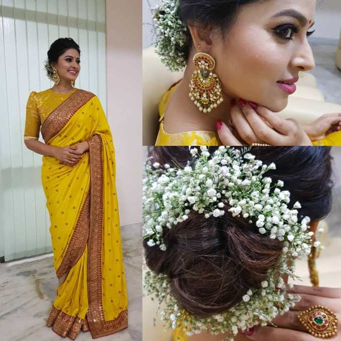 this is the most favourite hairstyle to wear with saree even