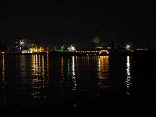View of the steamboat at night