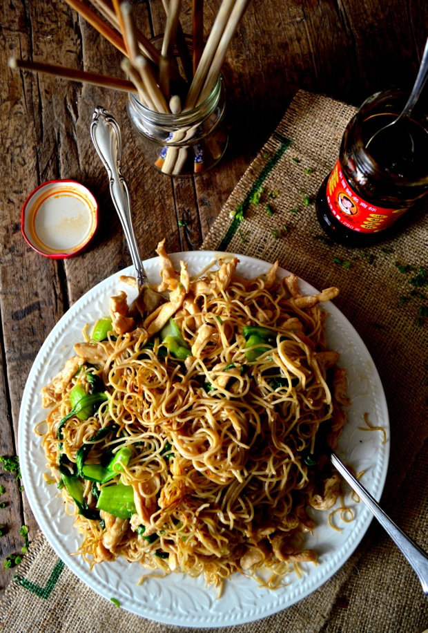 Pan-Fried Noodles w/ Chicken (Gai See Chow Mein