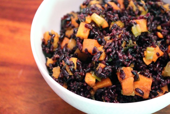 Black Rice With Scallions and Sweet Potatoes | KeepRecipes