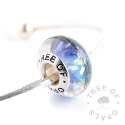 lock of hair charm bead with core (Tree of Opals)