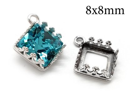 8mm square silver crown setting from Etsy, link above
