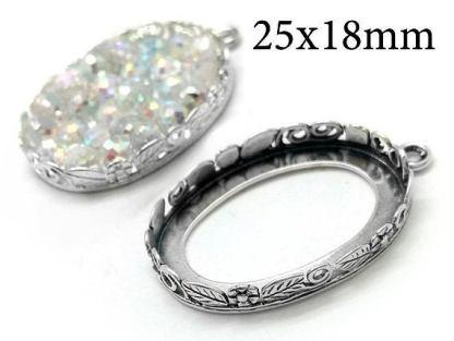 25x18mm silver setting