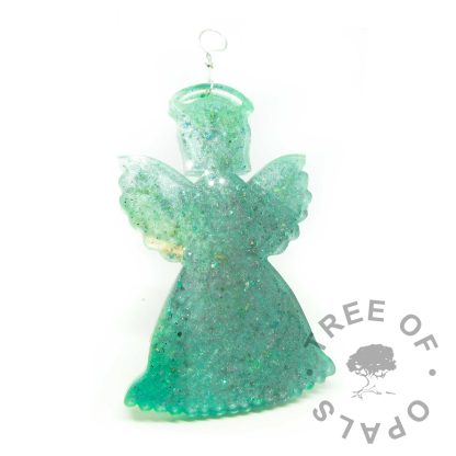 mermaid teal cremation ashes angel ornament for Christmas. Memorial ornament