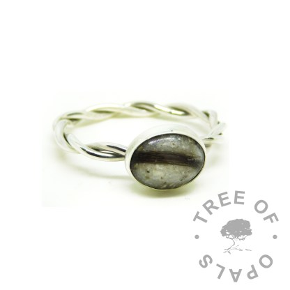 ashes and hair ring with unicorn white resin sparkle mix