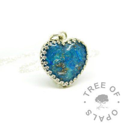 ashes jewellery heart necklace in Aegean blue resin sparkle mix