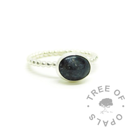 black ashes jewellery ring on Argentium silve 935 bubble wire band. Vampire black resin sparkle mix