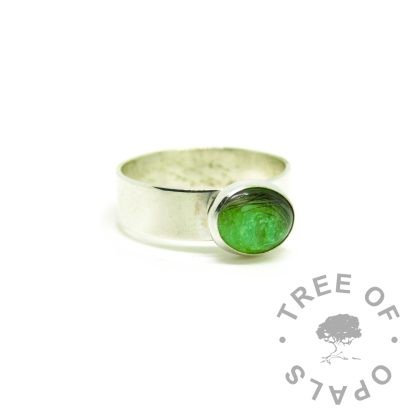 hair jewellery green ring, 6mm shiny Argentium silver band. Lock of hair with basilisk green resin sparkle mix
