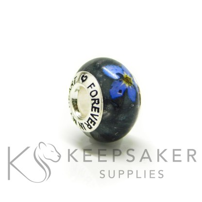 black ashes bead, forget me not