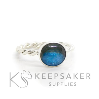 Aegean blue hair ring on a twisted band, blue resin sparkle mix