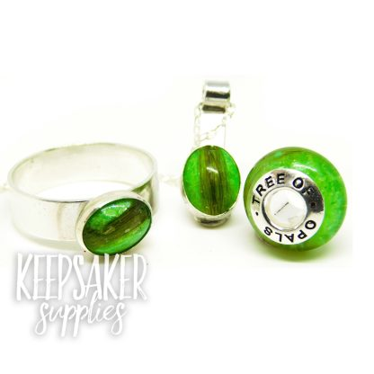 basilisk green lock of hair ring, charm bead with brand stamped core and 10x8mm necklace. Family order
