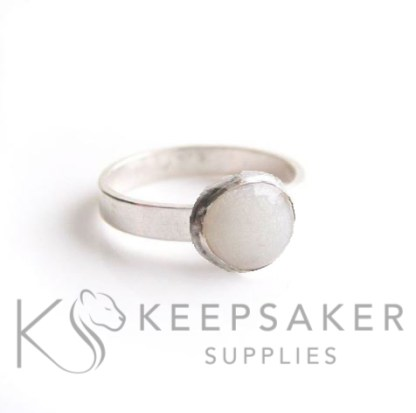Classic breastmilk ring, brushed band. Breastmilk by itself