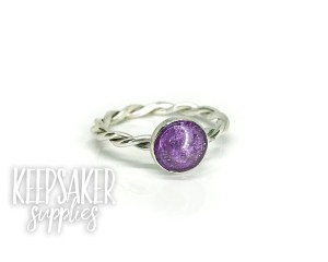 cremtion ashes ring twisted band, 8mm cabochon with ashes stone containing orchid purple resin sparkle mix