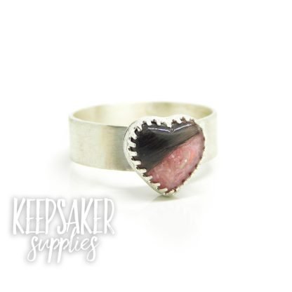 heart hair ring pink, fairy pink resin sparkle mix, brushed band heart ring setting
