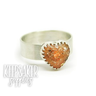 orange ashes heart ring jewellery - tangerine orange resin sparkle mix and 6mm wide brushed band. Mockup