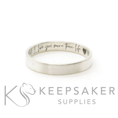 silver south script brushed ring, 3mm wide brushed stacking band, engraved inside with heart emoji at the end