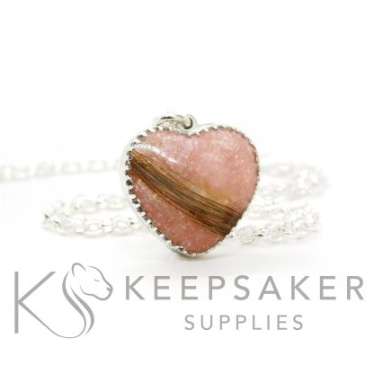 New style heart necklace setting with scalloped edge. Fairy pink resin sparkle mix, lock of hair, shown with a medium classic chain upgrade (mockup of new setting)