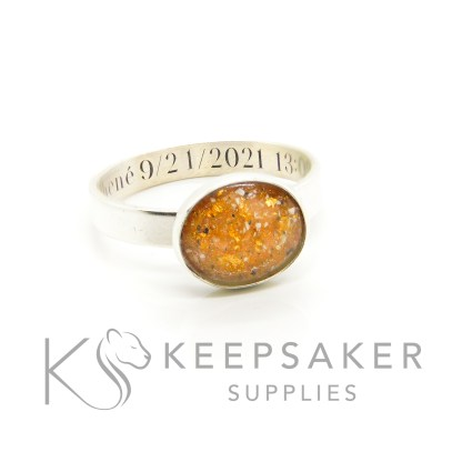cremation ash ring 3mm brushed band, 10x8mm bezel cup, tangerine orange resin sparkle mix with genuine rose gold leaf. Memorial jewellery with ashes. Engraved inside in Silver South Serif font