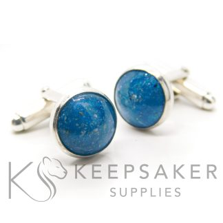 Cufflink Settings and Kit, blue ashes cufflinks silver setting, solid 925 sterling. Aegean blue resin sparkle mix