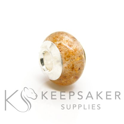 umbilical cord bead, classic clear resin and rose gold leaf. blank core in a bead