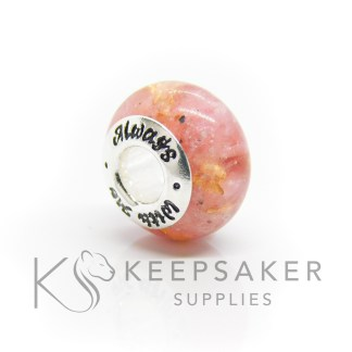 always with me cremation ashes bead, pink sparkle mix and gold leaf