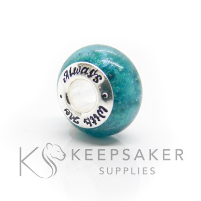 always with me cremation ashes bead, teal sparke mix