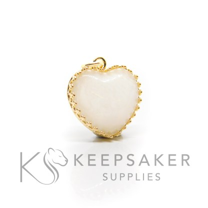 gold vermeil breastmilk heart, classic breastmilk with no sparkles. Shown without jump ring and necklace chain