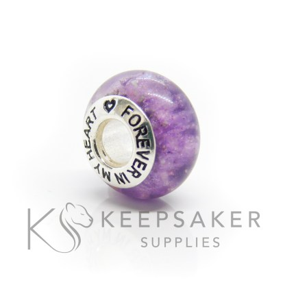 forever in my heart bead core cremation ashes bead, purple sparkle mix