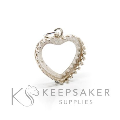 18mm medium shiny silver heart setting, 925 stamped solid sterling silver with a jump ring