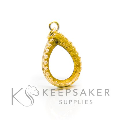 18mm medium gold vermeil crown teardrop setting. 925 stamped solid sterling silver plated with 24ct gold 2.5 microns thick, shown with a jump ring