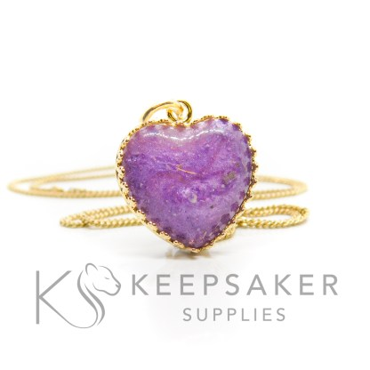 Gold vermeil ashes heart necklace, orchid purple resin sparkle mix. Shown with jump ring and necklace chain