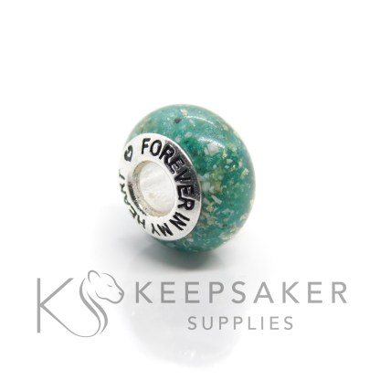 Cremation ashes bead with teal sparkle mix and subtle white gold leaf, forever in my heart core
