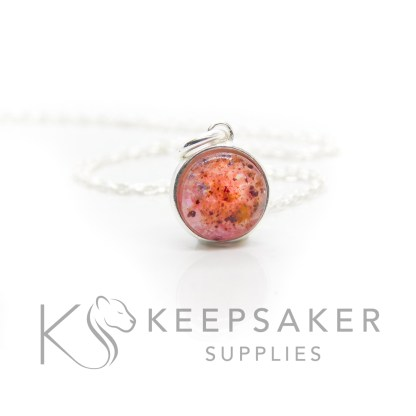 Solid silver umbilical cord 8mm round add-on necklace, fairy pink resin sparkle mix. Open backed. Shown with jump ring and necklace chain