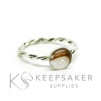 twisted band ring in Argentium silver 2.4mm wide, 8mm cup
