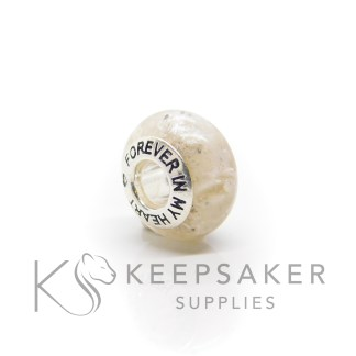 bead stock images ashes and white bead cremation ashes and unicorn white resin sparkle mix, Pandora style bead core
