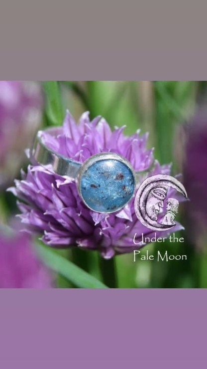 Placenta Ring by Sarah Hewes in Aegean blue resin sparkle mix