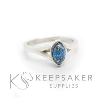 cast ring stock images blue Hannah cremation ashes ring, cremation ashes and Aegean blue resin sparkle mix with platinum leaf. 8x4mm marquise setting