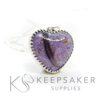 Lock of hair and umbilical cord necklace with scalloped point 18mm heart setting in solid Argentium silver. Orchid purple resin sparkle mix and clear resin