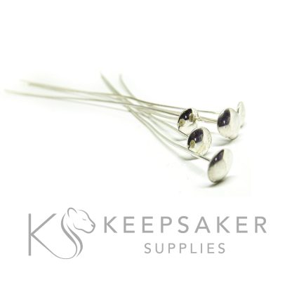 solid silver 6mm domed headpins for setting pearls, orbs and spheres